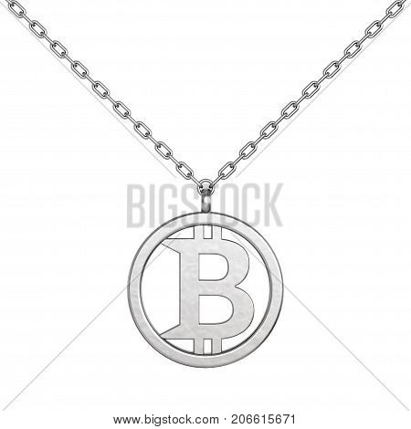 Bitcoin Symbol as Silver Coulomb with Chain on a white background. 3d Rendering