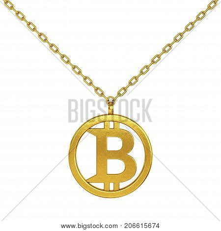 Bitcoin Symbol as Golden Coulomb with Chain on a white background. 3d Rendering