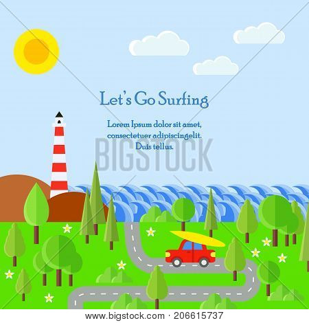 Summer flat vector illustration. Road, waves, red car, surf board, trees, lighthouse. Go to surfing. Car with surf board. Summer time. Travel to the ocean with big waves.