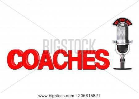 Online Education Concept. Red Coaches Sign with Microphone and On The Air Sign on a white background. 3d Rendering