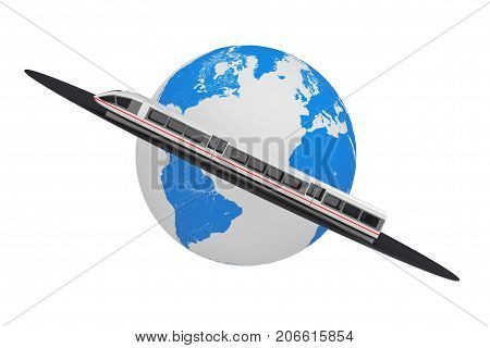 Super High Speed Futuristic Commuter Train over Road Around Earth Globe on a white background. 3d Rendering