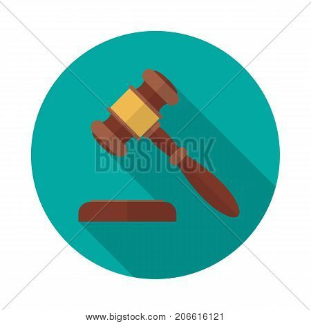 Auction or judge gavel circle icon with long shadow. Flat design style. Gavel simple silhouette. Modern minimalist round icon in stylish colors. Web site page and mobile app design vector element.