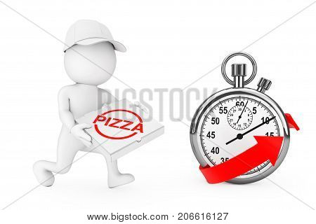 Pizza Delivery Concept. 3d Character Pizza Dealer with Pizza Box in Hands Runs to Hurry to Deliver a Pizza near Stopwatch with Red Arrow on a white background. 3d Rendering