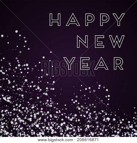 Happy New Year Greeting Card. Amazing Falling Snow Background. Amazing Falling Snow On Deep Purple B