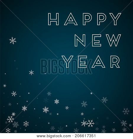 Happy New Year Greeting Card. Sparse Snowfall Background. Sparse Snowfall On Blue Background. Gracef