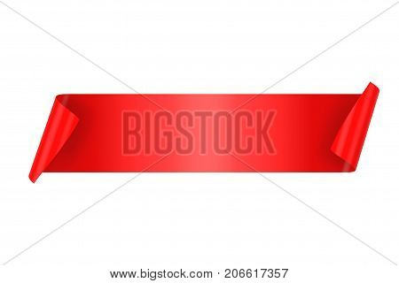 Blank Red Satin Ribbon Banner with Copyspace for Yours Design on a white background. 3d Rendering