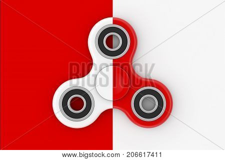 Fidget Finger Spinner Antistress Toy on a white and red background. 3d Rendering