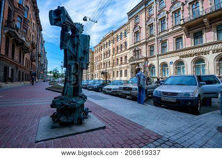 ST.PETERSBURG, RUSSIA - JUNE, 2015: Monument to propagandist on Pravda street