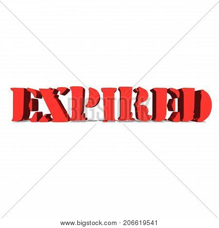 expired red word on white background illustration 3D rendering