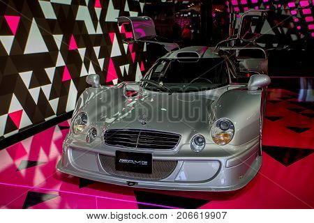 PARIS - CIRCA JUNE 2014: Mercedes S Coupe in showroom at Champs-Elysees. Mercedes is one of the most prestigious cars in the world