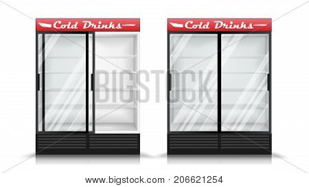 Refrigerator Vector. Fridge With Two Glass Sliding Doors. Isolated Illustration