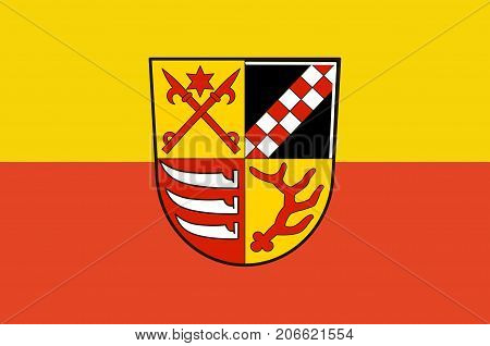 Flag of Oder-Spree is a district in the eastern part of Brandenburg Germany. Vector illustration from the