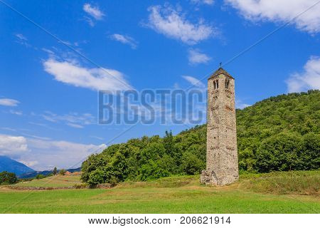 the solitary medieval stone bell tower of Saint Martin called