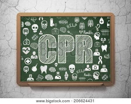 Health concept: Chalk White text CPR on School board background with  Hand Drawn Medicine Icons, 3D Rendering