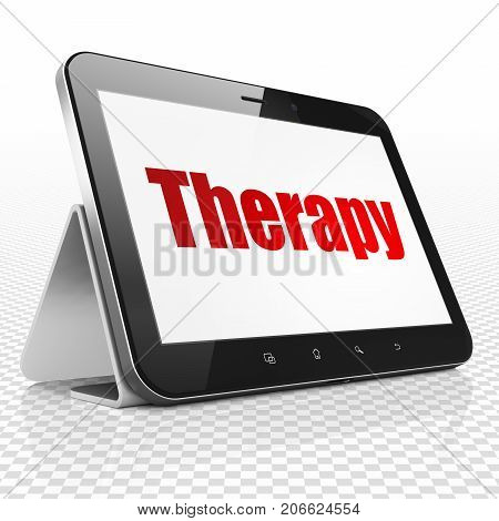 Health concept: Tablet Computer with red text Therapy on display, 3D rendering