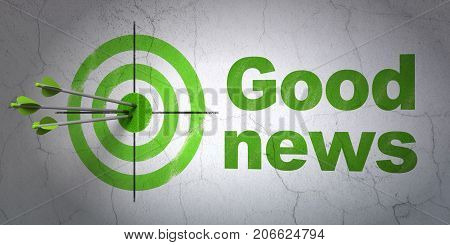 Success news concept: arrows hitting the center of target, Green Good News on wall background, 3D rendering