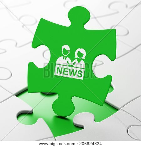 News concept: Anchorman on Green puzzle pieces background, 3D rendering