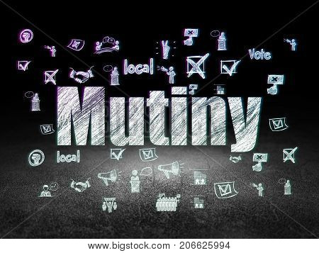 Political concept: Glowing text Mutiny,  Hand Drawn Politics Icons in grunge dark room with Dirty Floor, black background