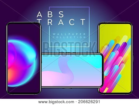 Phone Abstract Futuristic Wallpaper Collection. Creative Colorful Background on Device Display. Neon Fluid Geometric Wallpapers. Bright Blue Green Pink Colors. Modern Minimal Design.
