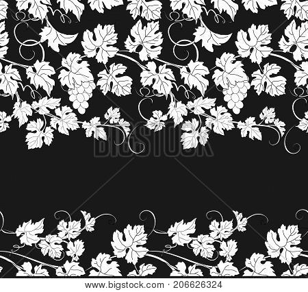 Vector seamless pattern background with vines in vintage style.