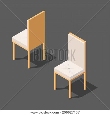 chair with backrest. wooden chair with soft seat. vector chair in two versions, vector illustration of an isometric view, in isolation from the background