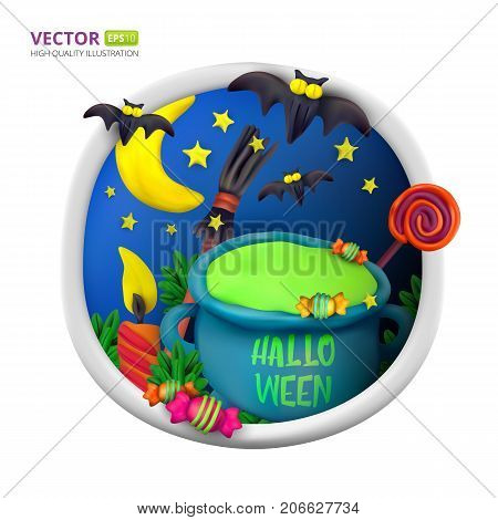 Handmade Vector Plasticine Round Greeting Card For Halloween
