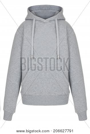 Front view of isolated grey sweatshirt hoody on white background