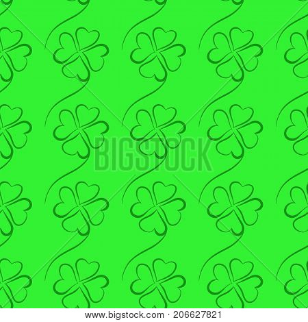 Seamless pattern with hand drawn shamrock for St. Patricks Day. St. Patrics Day background for cards, invitations.