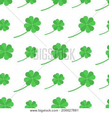 Seamless pattern with shamrock for St. Patricks Day. St. Patrics Day background for cards, invitations.