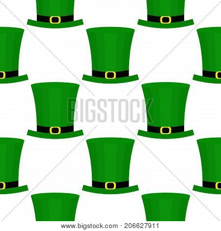 Seamless pattern with green hat for St. Patricks Day. St. Patrics Day background for cards, invitations.