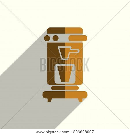 Coffee flat icons with of shadow. Simple vector illustration