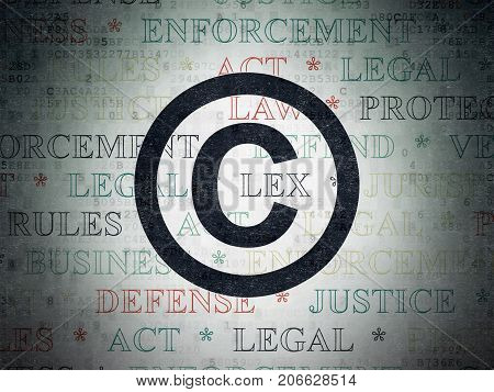 Law concept: Painted black Copyright icon on Digital Data Paper background with  Tag Cloud