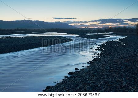 beautiful landscape of amazing river at dawn