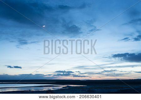 beautiful landscape of amazing lake at dawn