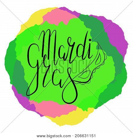 Lettering Mardi Gras with carnival mask on color background. Vector. Template for cards, invitations.