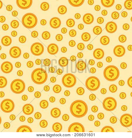 Cartoon illustration of dollar currency symbol vector pattern bank finance business seamless money background. Wrapping financial economy gold sign.