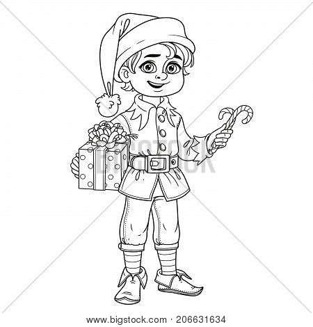Cute Boy In Elf Santa's Assistant Costume Outlined For Coloring Page