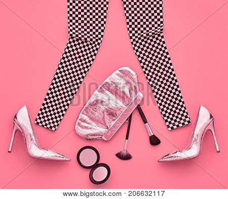 Fashion Design Outfit. Essentials fashion Cosmetic Makeup. Woman Clothes Accessories Set. Stylish Leggings, Glamor fashion Heels, Trendy Handbag Clutch. Top view. Creative. Minimal