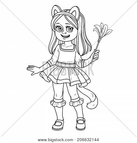 Cute Girl In Cat Costume Outlined For Coloring Page