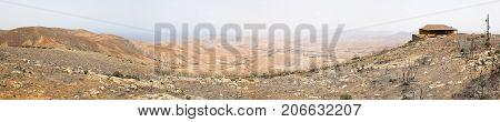 View from the Mirador Morro Velosa during a Sahara sandstorm Fuerteventura.