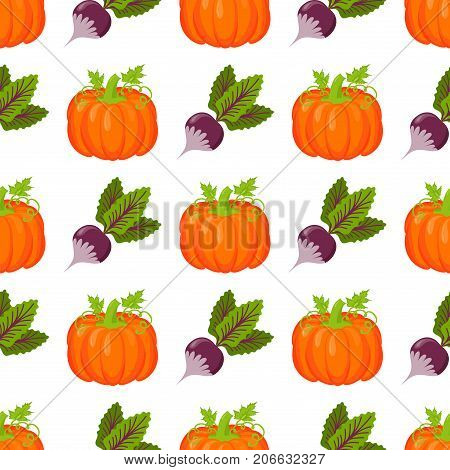 Seamless pattern with pumpkins on white. Yellow thanksgiving symbol autumn decoration vector illustration. Orange food graphic celebration vegetable background.