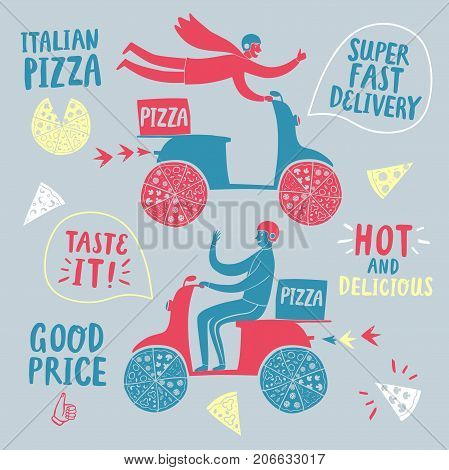 Hand drawn fast motorcyclists with Italian pizza. Colorful pizza delivery illustration with different titles for your design.