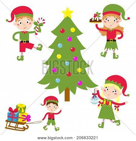 Santa Claus kids cartoon elf helpers vector illustration children elves characters traditional costume. Family christmas kid holiday people.