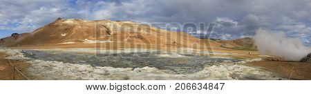 Panoramic view of steaming fumaroles in geothermal valley Hverir Namafjall in north Iceland