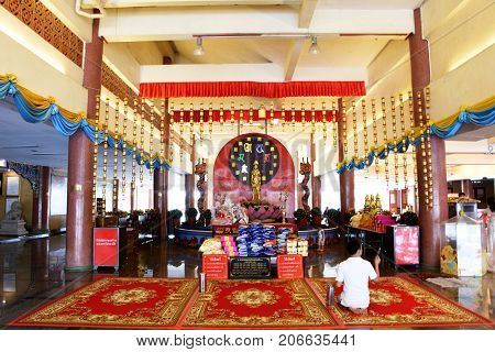 Thai People And Foreigner Travelers Visit And Pray Respect At Chinese Temple