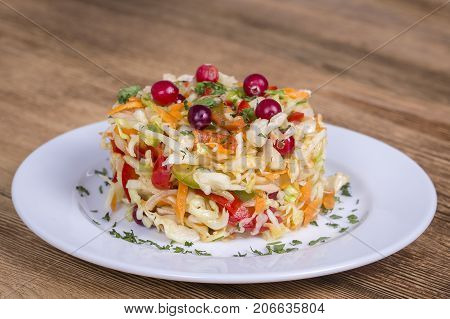 Ukrainian And Russian Dishes - Homemade Marinated, Sour Cabbage With Carrots And Onions, Close Up