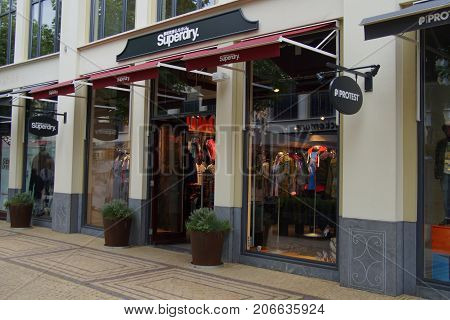 Lelystad, The Netherlands - September 30, 2017: Superdry fashion outlet store in Batavia Stad in the city of Lelystad.