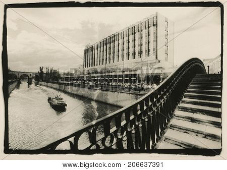 Customs bridge across the Yauza River. Moscow. Attention! The image contains the granularity and artifacts of the analogue photo!