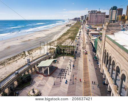 Atlantic City, Usa - September 20, 2017: Atlantic City Boardwalk Aerial View