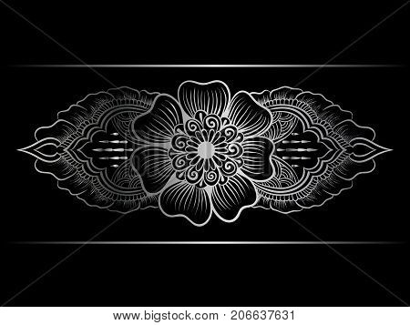 Silver indian line art border in mehendi ethnic style on a black background
